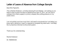 College Application Letter For Leave Letter Of Leave Of Absence
