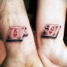tattoo couple king and queen king and queen of hearts tattoo small king and queen puzzle heart