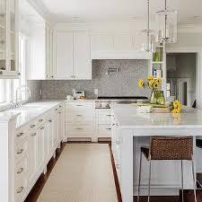 Gray Brick Tile Kitchen Backsplash Transitional Kitchen - Gray backsplash