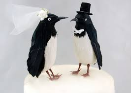 birds wedding cake toppers fancy penguin cake topper and groom bird
