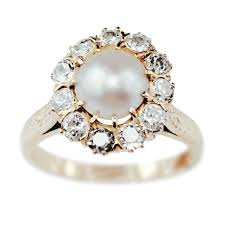 pearl and diamond engagement rings pearl engagement rings vintage wedding promise diamond