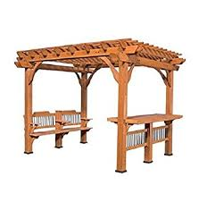 Pre Made Pergola by Amazon Com Pre Stained 100 Natural Cedar Wood Outdoor 10 U0027 X 12