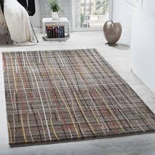designer teppich designer teppich kurzflor wohnzimmer gitternetz optik braun