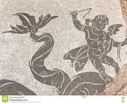 mosaic in the roman baths of caracalla rome italy stock photo