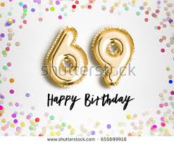 69th birthday card 69th birthday celebration gold balloons colorful stock