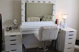 bedroom makeup vanity set with mirror and lights in color