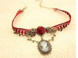 vintage lace choker necklace images Vintage red lace choker necklace gloria vintage jewelries jpg