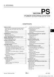 nissan 350z 2007 z33 power steering system workshop manual