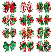 christmas hair accessories baby girl hair bow large layered boutique spike christmas hair