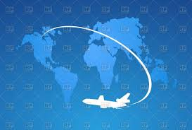 World Map Silhouette Silhouette Of Airplane On World Map Royalty Free Vector Clip Art