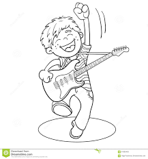 coloring page outline of a cartoon boy with a guitar stock vector