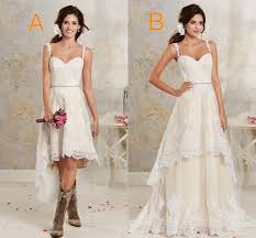 two styles lace country wedding dresses high low short bridal