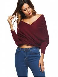 wrap sweater top crossed front chunky wrap sweater wine sweaters one size zaful