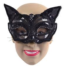 cat masquerade mask black cat mask with sequins