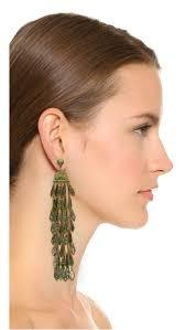 gunmetal chandelier earrings tory burch oxidized metal chandelier earrings in metallic lyst