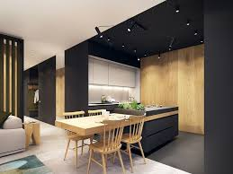 cuisine noir et blanc cuisine noir mat et bois idées décoration intérieure farik us