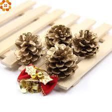 9pcs gold christmas ornaments pine cones diy xmas tree