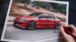 mitsubishi evo red mitsubishi evo 8 red usa car drawing youtube