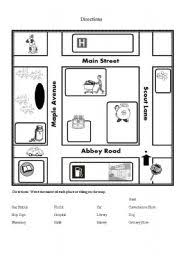 english teaching worksheets map directions