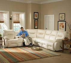 Sectional Sofas That Recline by Casual Reclining Sectional Sofa With Storage Console And