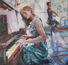 playing painting girl playing piano by evangelos koumbis