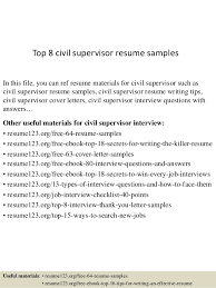 Civil Resume Sample by Top 8 Civil Supervisor Resume Samples 1 638 Jpg Cb U003d1431738710