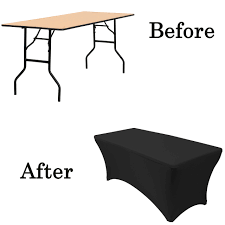 6 Foot Fitted Tablecloth 6 Ft Rectangular Spandex Table Covers Black Wholesale Stretch