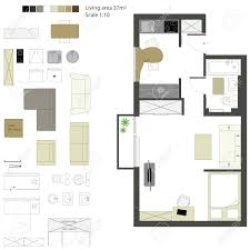 floor plans with furniture vector flat projection with furniture set scale 1 10 royalty free