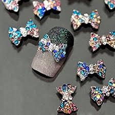 amazon com pission 10pcs diy 3d nail care rainstone bow nail