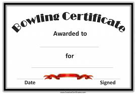 bowling certificate template award certificate templates download