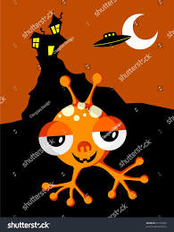 funny space monster on halloween background stock vector 37193056