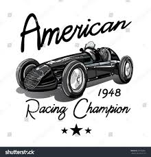 vintage race car printingvector vintage sport stock vector
