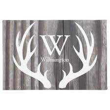 Disney Doormat Rustic Deer Antlers Monogram Choose Your Color Doormat Zazzle Com