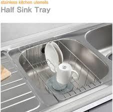 Closetmaid Dish Drainer Stainless Steel Dish Drying Half Sink Tray Basket Rack Kitchen