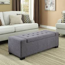 Gray Storage Bench Wyndenhall Santa Fe Large Rectangular Storage Ottoman Bench