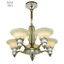 Art Deco Lighting Fixtures Art Deco Streamline Chandelier 5 Arm Light Fixture By Mid West Mnf