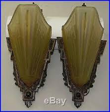 Wall Sconce Art Deco Set Of 2 Matching Vintage Art Deco Slip Shade Light Lamp Fixture