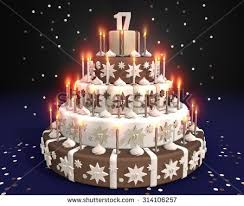 cake burning candles birthday 17 year stock illustration 314106257