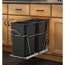 In Cabinet Trash Cans For The Kitchen Shop Rev A Shelf 27 Quart Plastic Pull Out Trash Can At Lowes Com