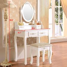 Vanity Makeup Desk With Mirror Ktaxon Elegance White Dressing Table Vanity Table And Stool Set