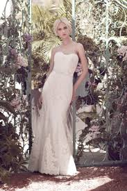 delicate off white strapless mermaid lace bridal dress with satin