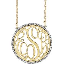 monogram necklace pendant 14k gold diamond monogram necklace j m jewelry