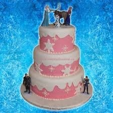 3 tier pink white fondant disney frozen birthday cake