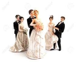 cake figurines wedding cake figurines on a white background stock photo picture