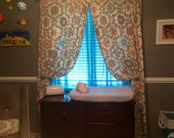 Teal Nursery Curtains Teal Orange Nursery Etsy