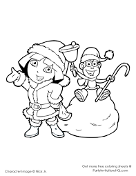 dora the explorer christmas coloring pages getcoloringpages com
