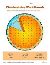 thanksgiving activity for word search