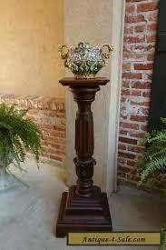 Plant Pedestal Antique French Carved Oak Pedestal Plant Stand Renaissance Bronze