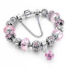 pink beads bracelet images Charm bracelets bangles with crystal beads in blue pink and jpg