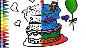 birthday cake coloring pages for kids learn colors drawing